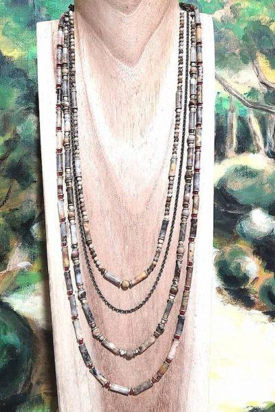 Collier Forest trois rangs et bambou Vaciouk Bijoux